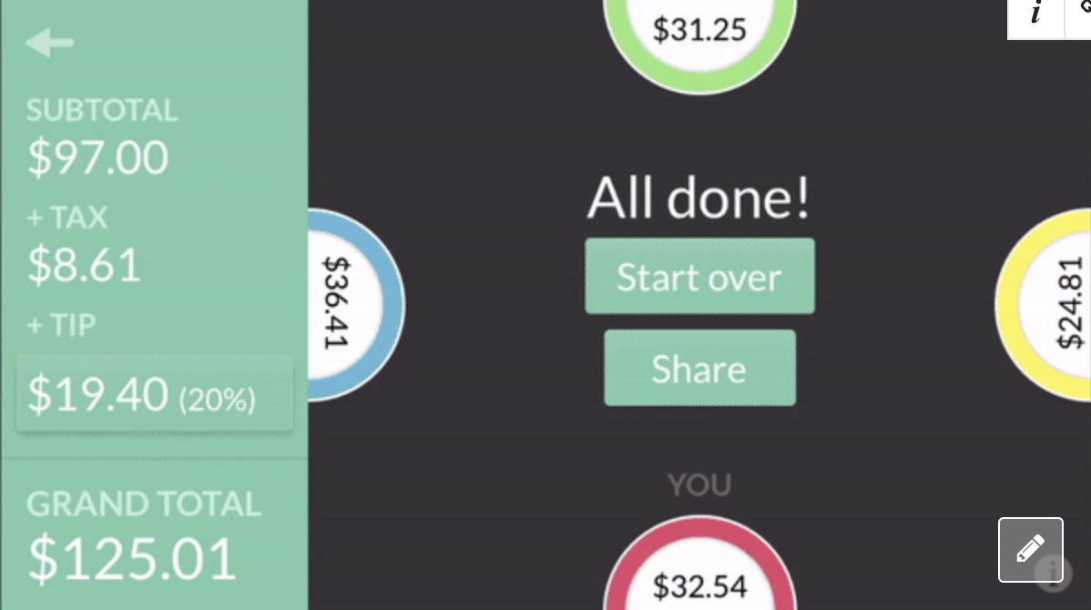 screenshot of the app with a different total at each of the four plates including tip as well as the final amount