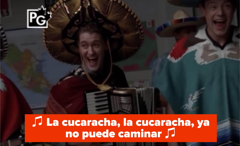 "Mr. Schue in a sombrero singing ""La Cucaracha"" with Finn"
