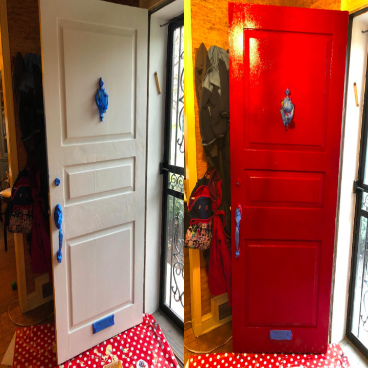 A customer review before and after photo showing their front door