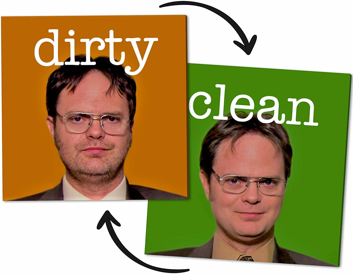 "The Dwight from The Office-themed dishwasher magnet with a bearded Dwight for ""dirty"" and shaven Dwight for ""clean"""