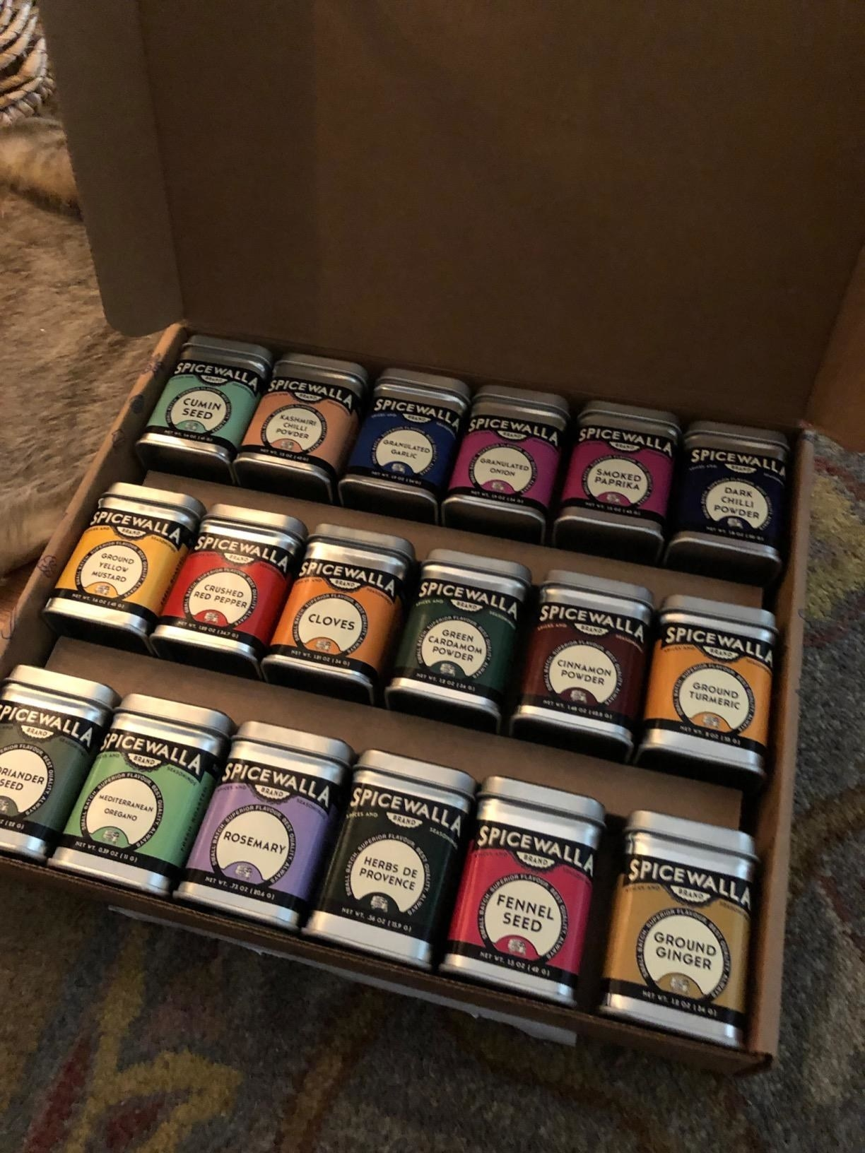 the 18 spices and seasonings in a box