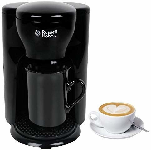 A black Russell Hobbs coffee maker with a cup of coffee next to it