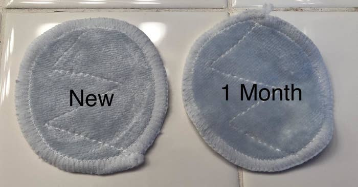 """a reviewer photo of one of the pads labeled """"new"""" and another that's slightly darker in color labeled """"1 month"""""""