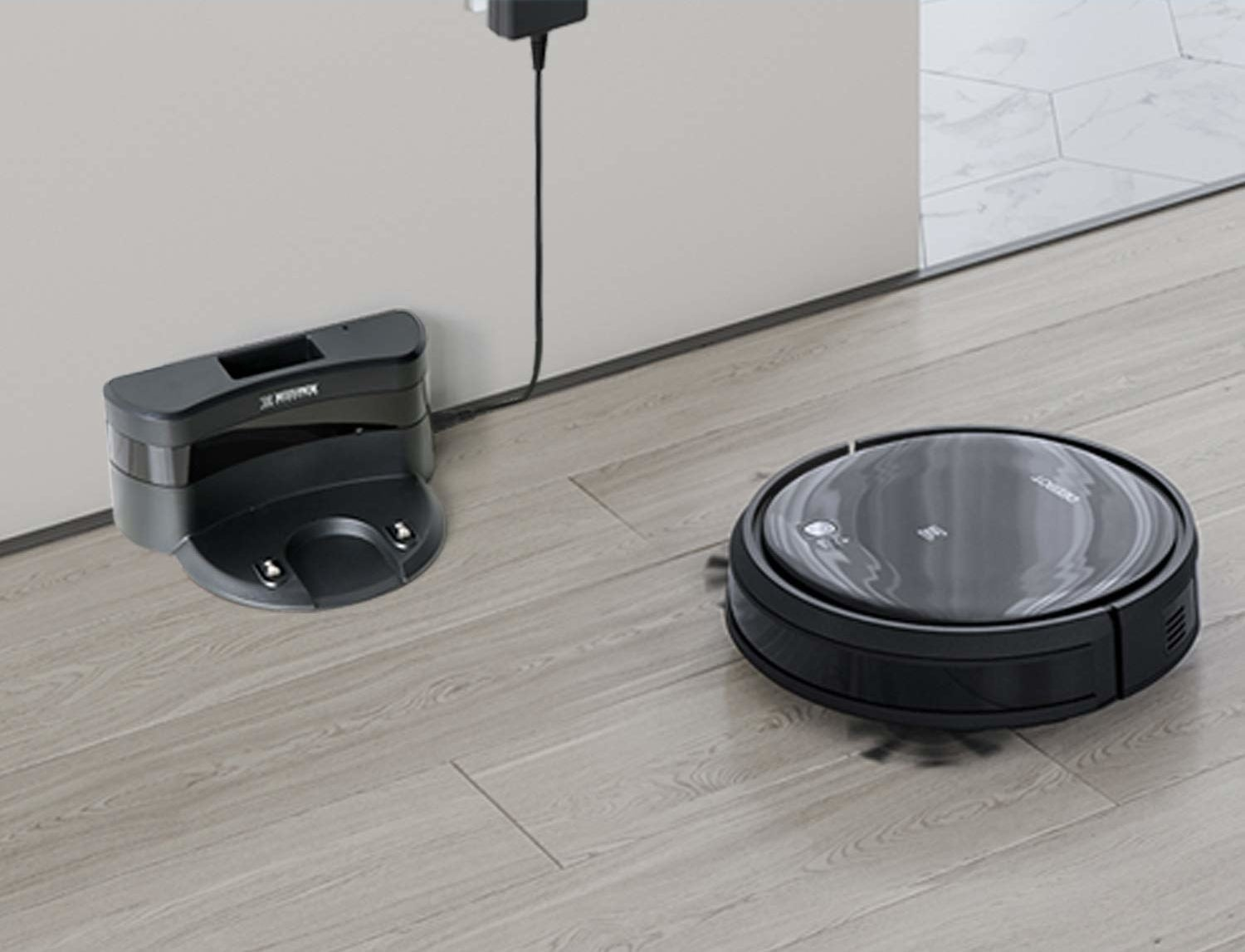 Vacuum cleaning robot going back to its charging station.