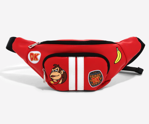 a red fanny pack with patches of donkey kong icons