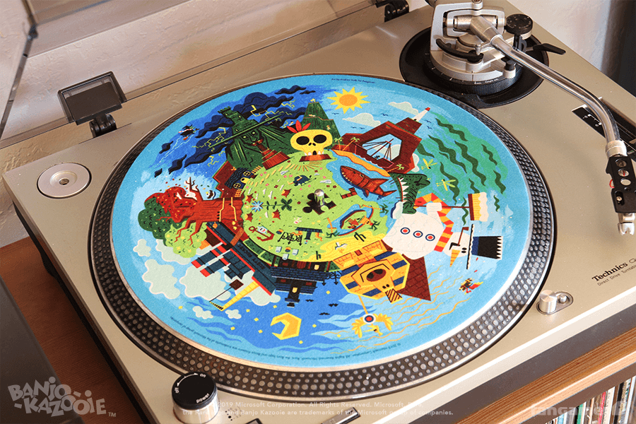 a slip mat featuring the banjo kazooie map