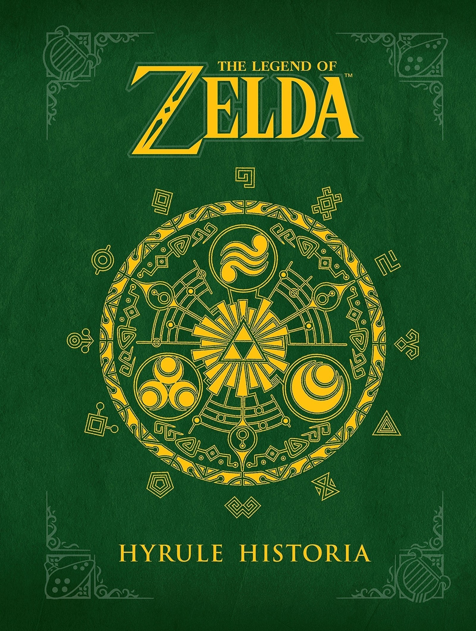 a dark green cover of the book with a symbols from the zelda game in the middle in gold