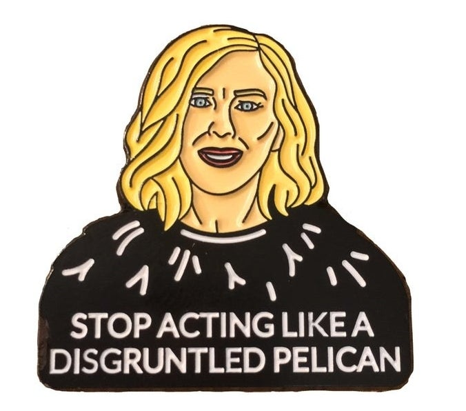 "The pin of Moira's face and the words ""Stop acting like a disgruntled pelican"""