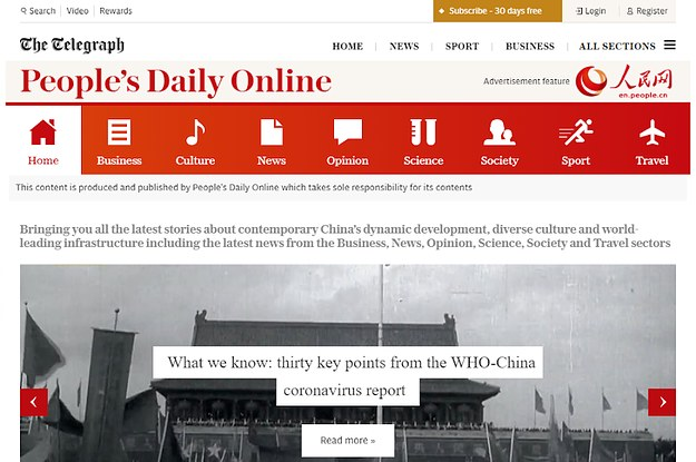 A British Newspaper Has Given Chinese Coronavirus Propaganda A Direct Line To The UK