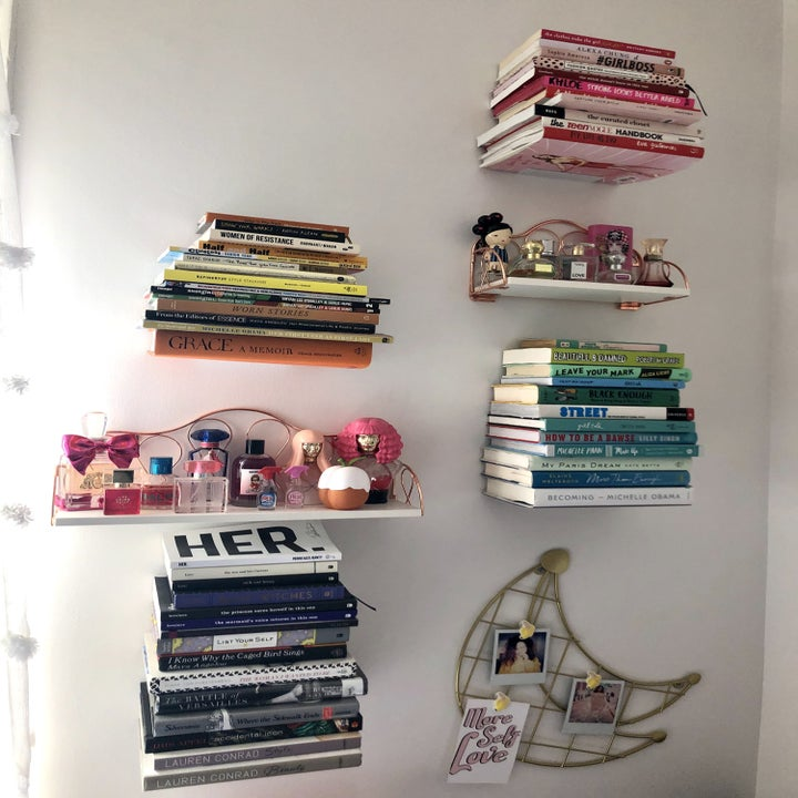 BuzzFeed editor's floating bookshelves on her bedroom wall