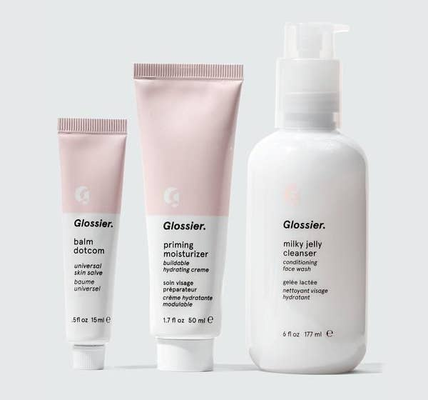 The set of balm dotcom, priming moisturizer, and milky jelly cleanser