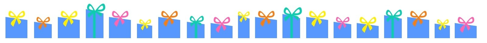 a row of illustrated blue gifts with different colored bows