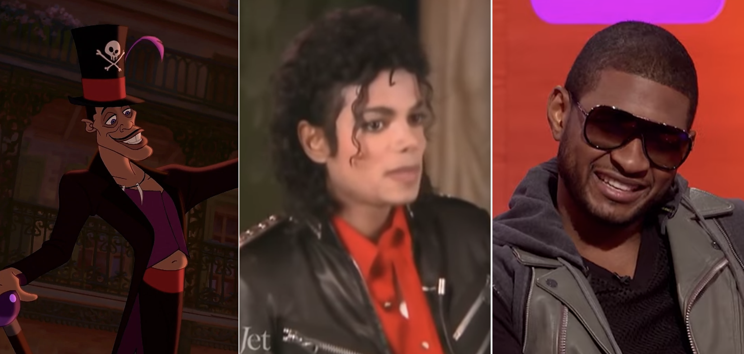 Side-by-sides of Dr. Facilier, Michael Jackson, and Usher
