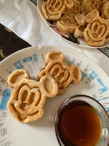 a reviewer's photo of mickey waffles