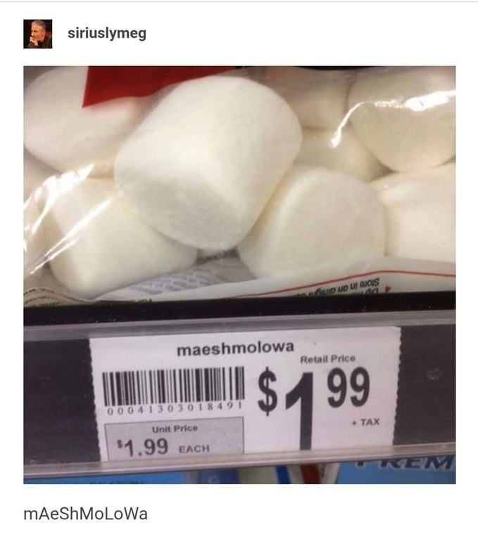 Sign misspelling marshmallows