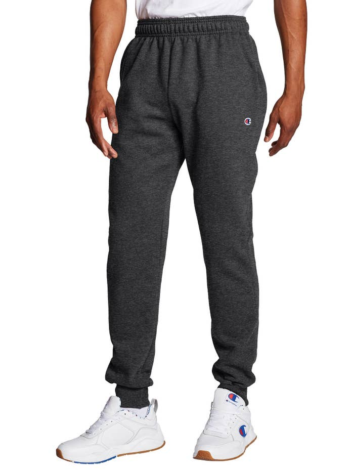The grey cuffed sweatpants with elastic waistband