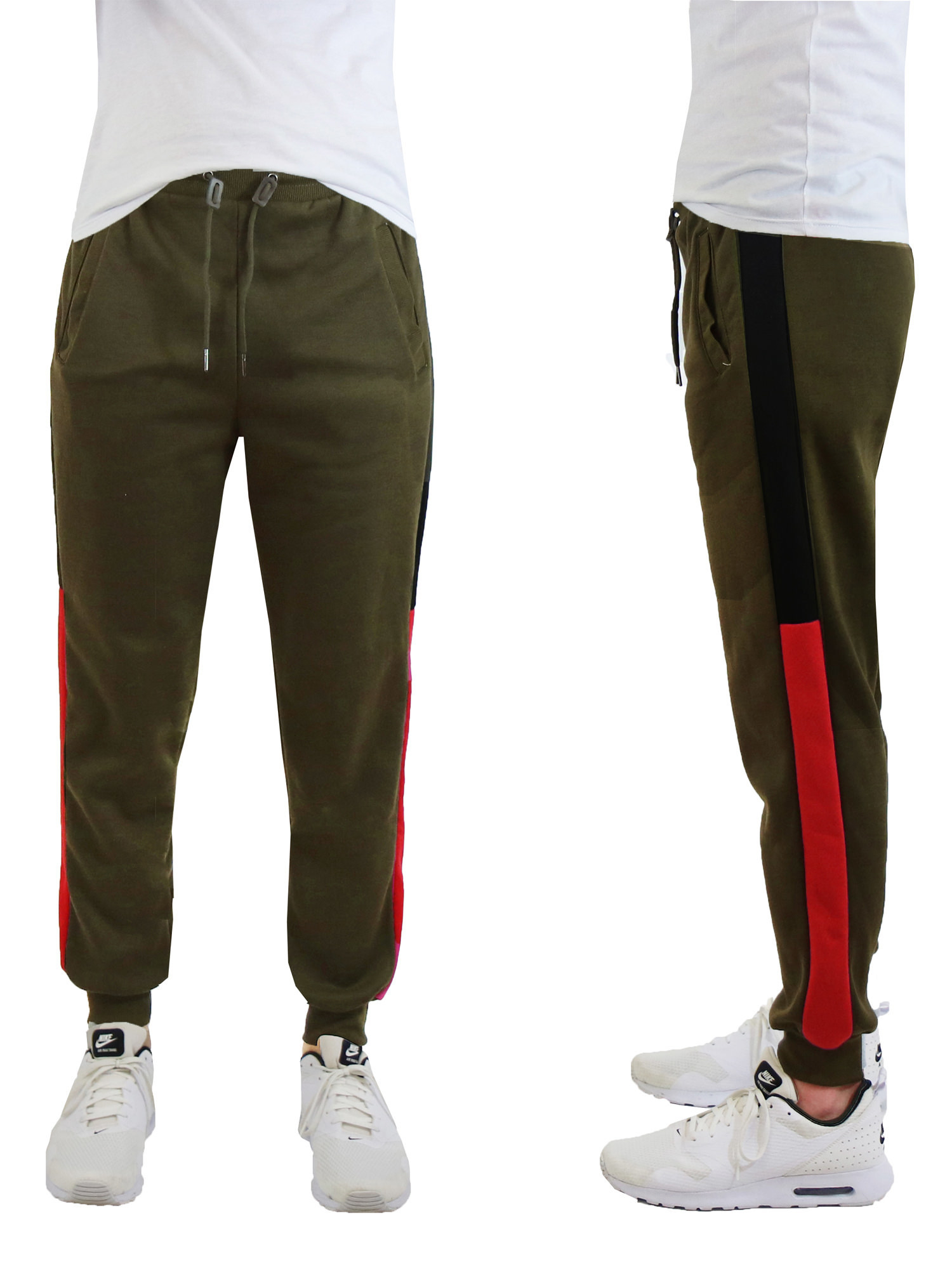The olive green sweatpants with red side stripes