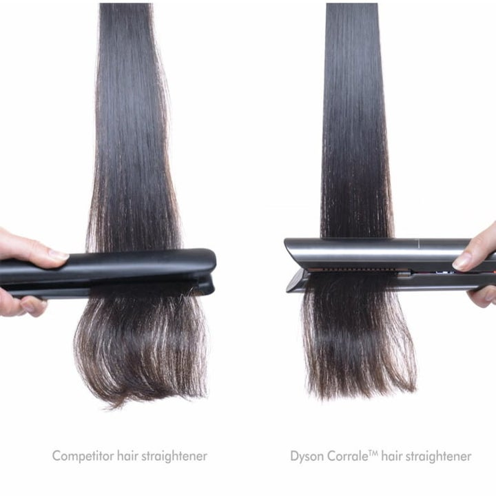 A comparison of hair using another straightener versus the Dyson Corrale Straightener