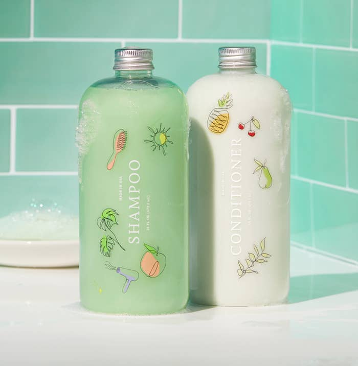 the shampoo and conditioner in green and white
