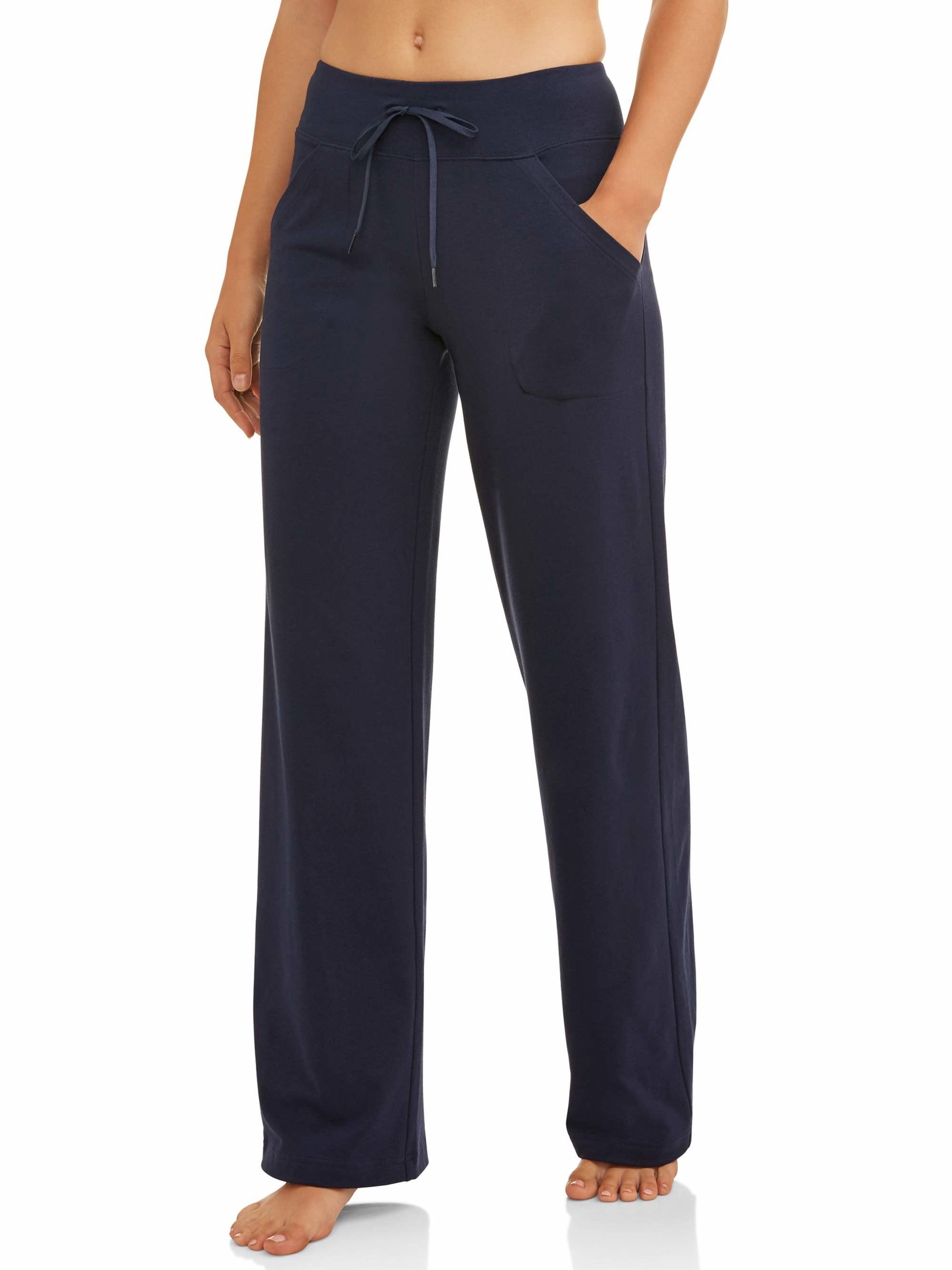 The navy blue wide-hem sweatpants