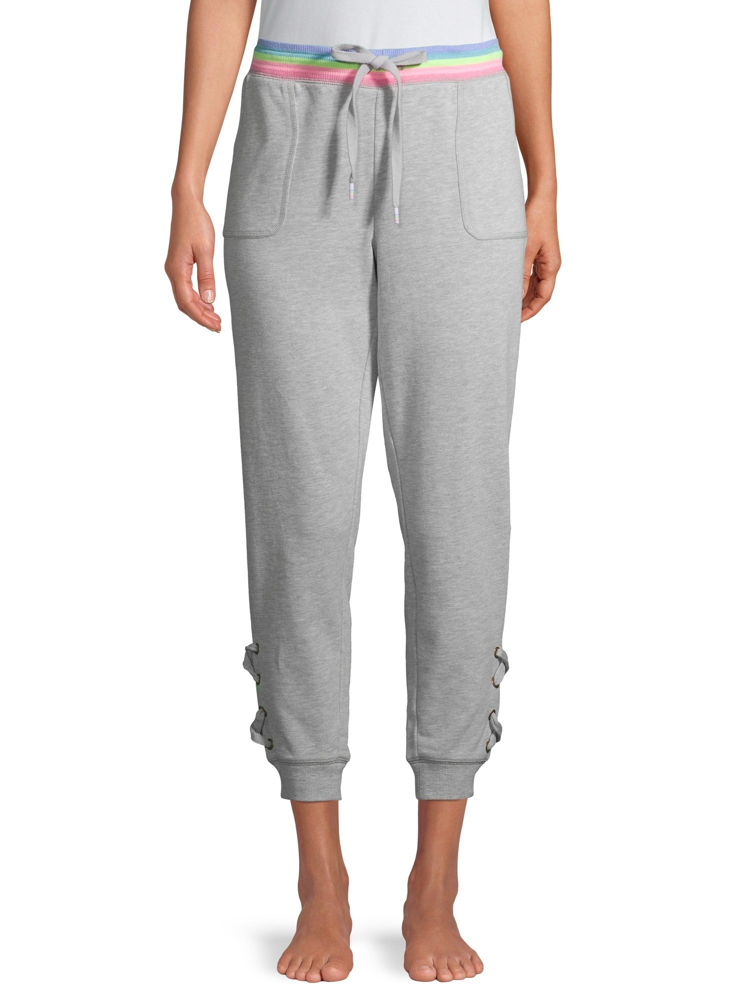 The grey sweatpants with lace-up cuffs and rainbow waistband