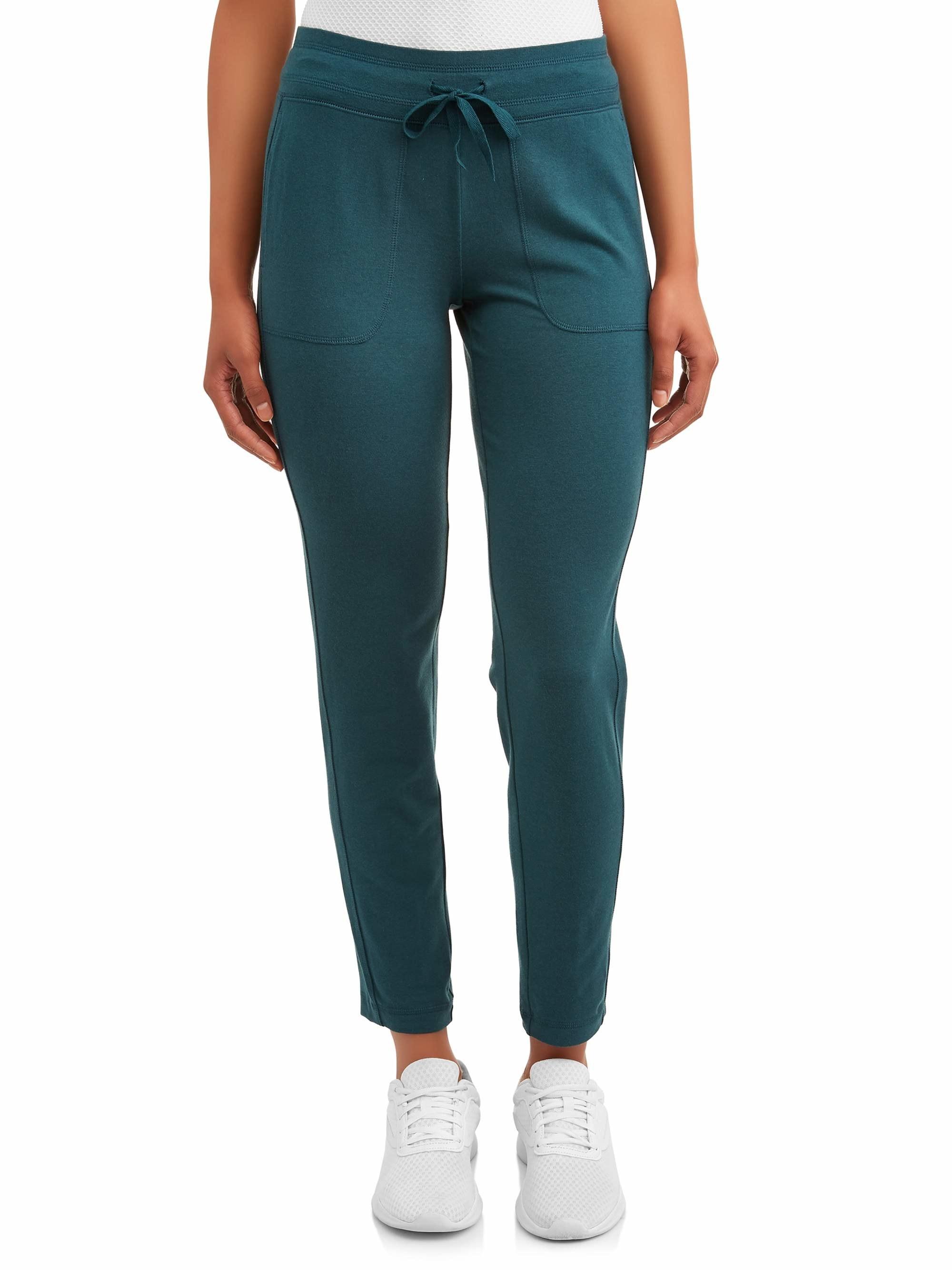 The green straight leg sweatpants