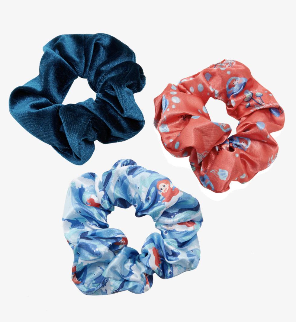 three satin scrunchies