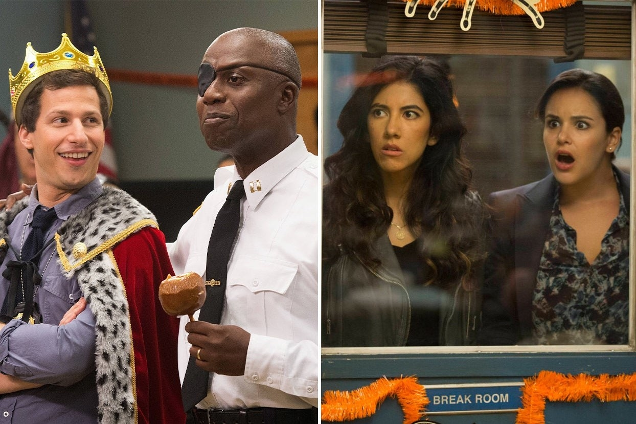 Holt, Jake, Amy, And Rosa in the Halloween Heist episodes
