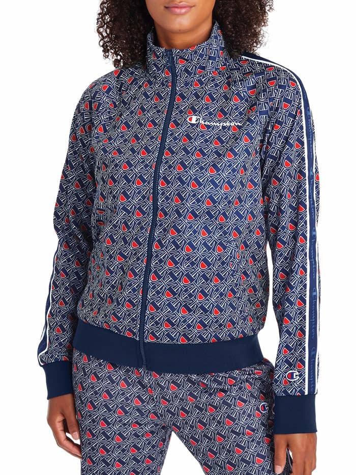 model wearing patterned jacket