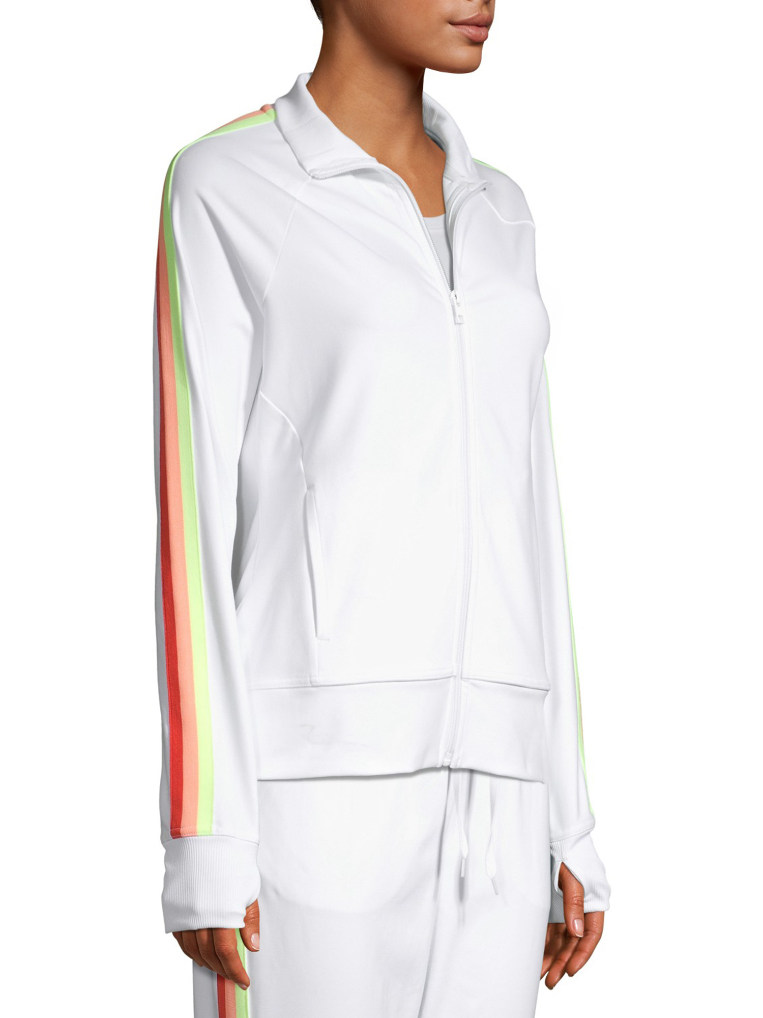 model in white zip-up with rainbow stripe sleeves