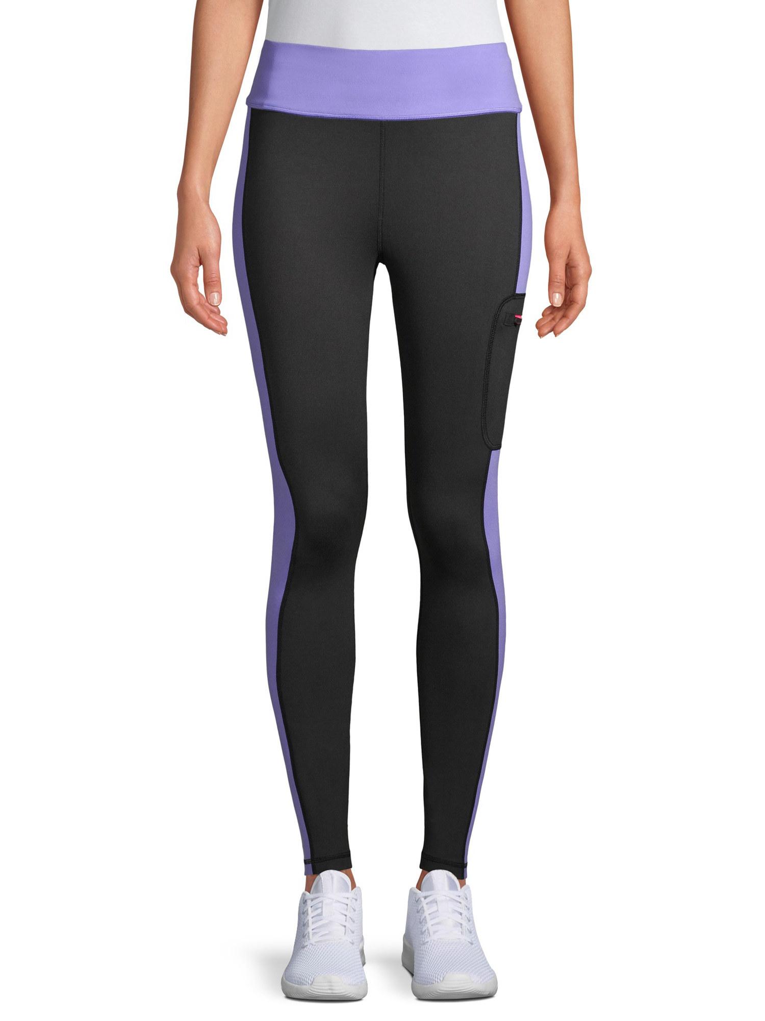 model wearing purple and black leggings