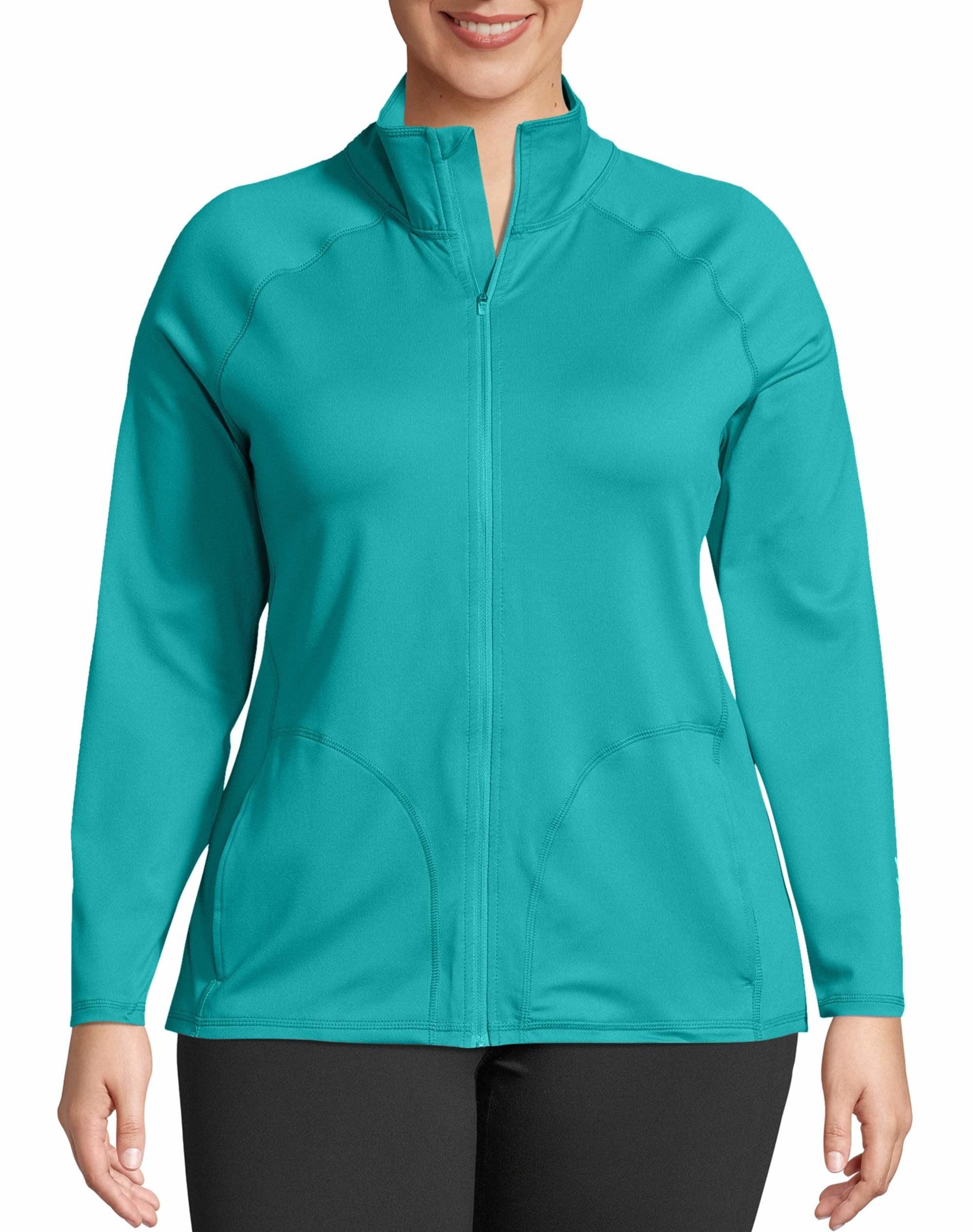 model wearing blue zip-up jacket
