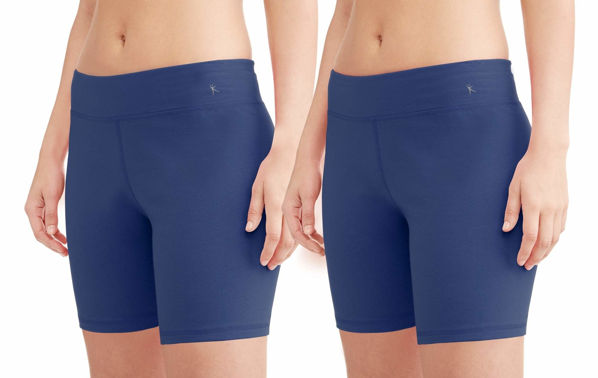 two models wearing dark blue biker shorts