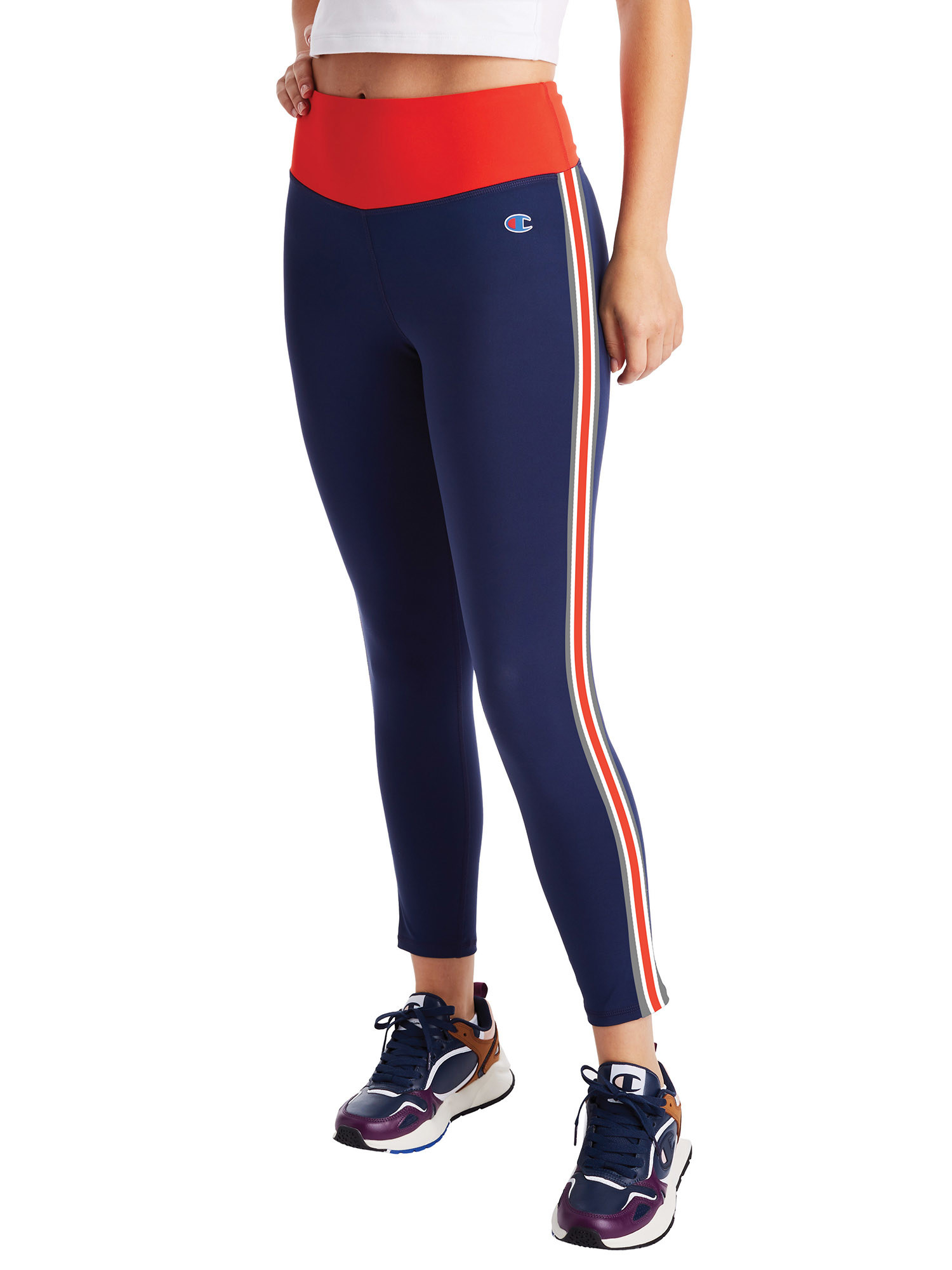 model wearing red and navy blue leggings