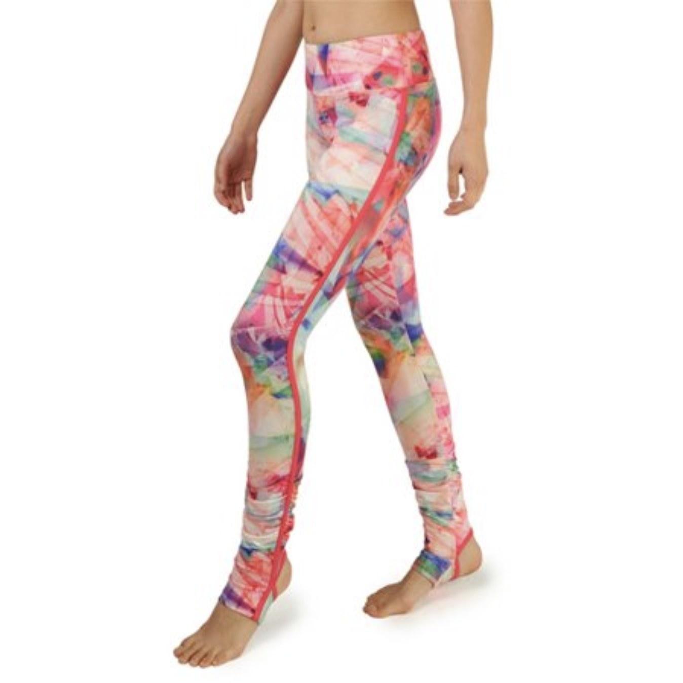 model wearing multi-colored leggings
