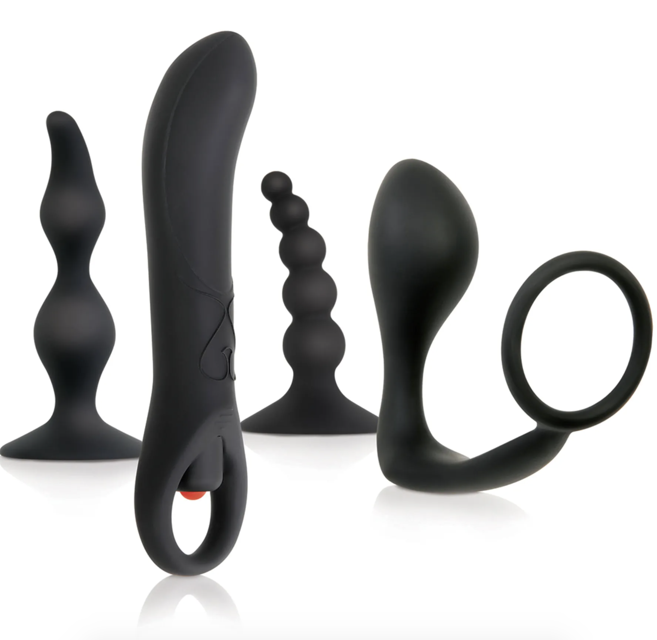 Into to Prostate kit with various ribbed anal plugs