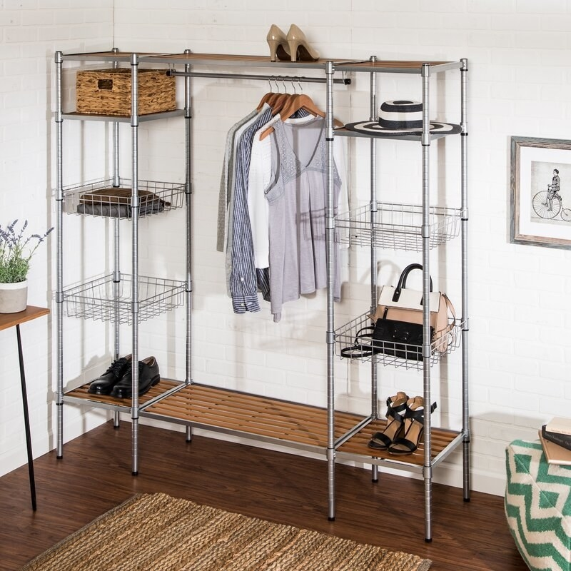 the closet system, which has shelves and space to hang shirts