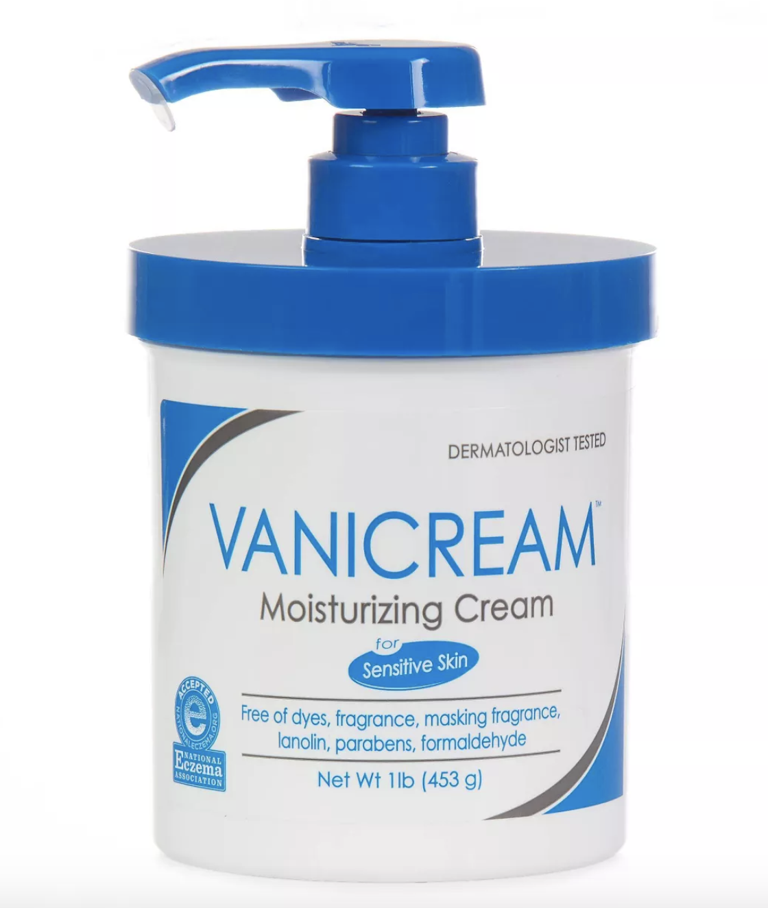 the container of vanicream featuring a pump