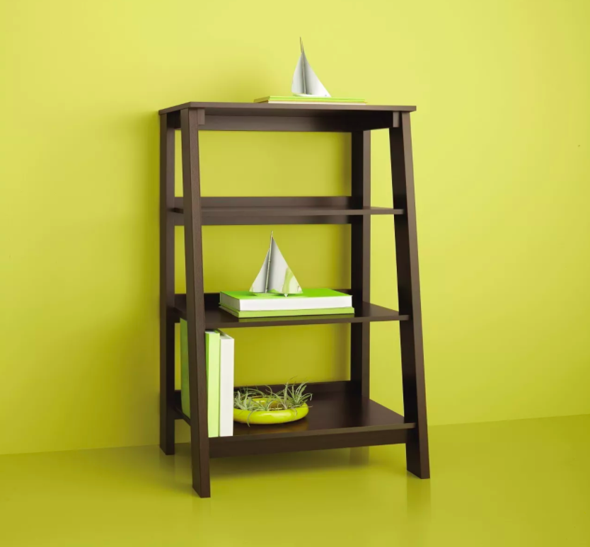 Wooden leaning shelf with books and succulents