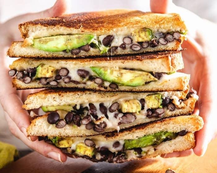 an avocado black bean melt sandwich