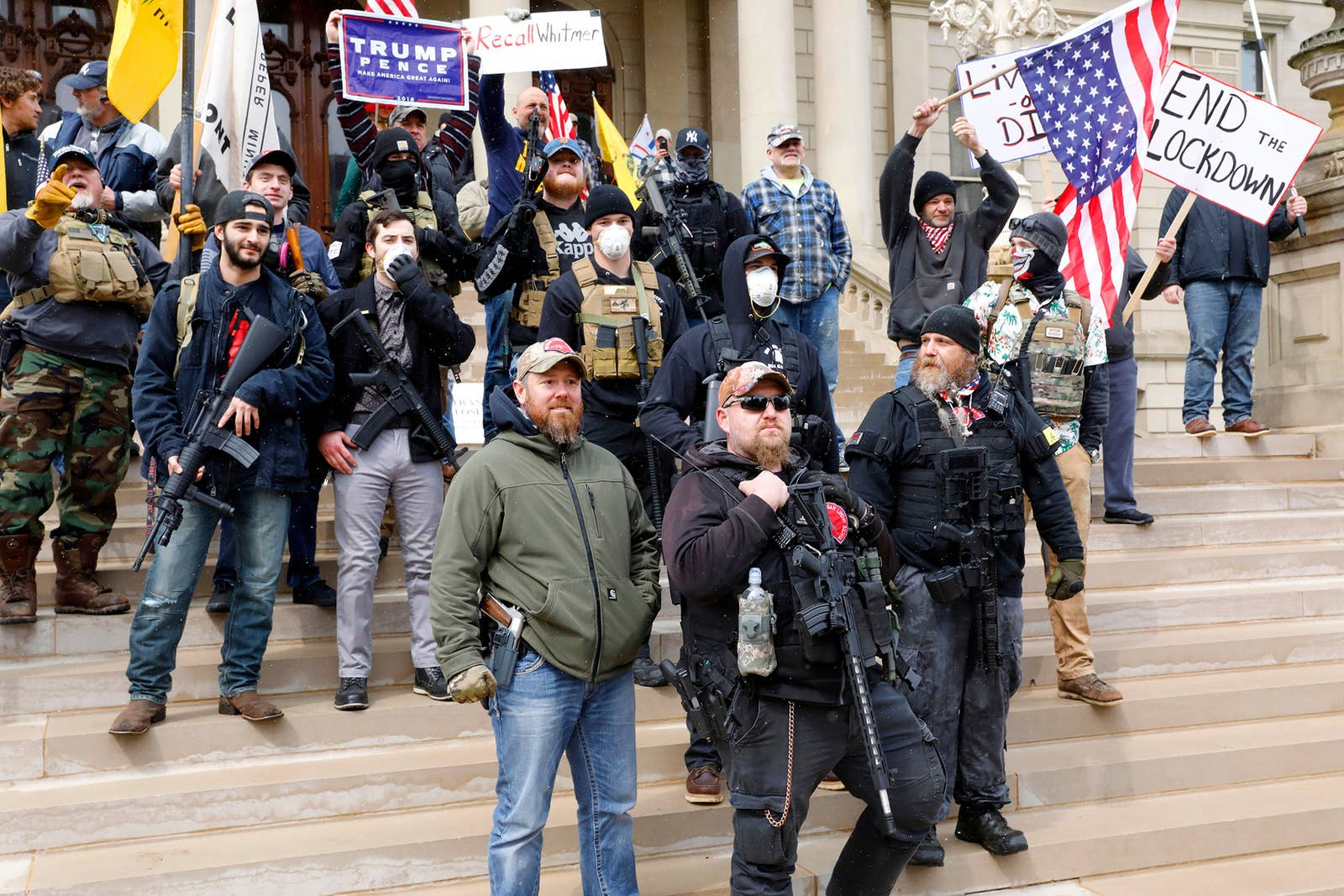 Photo of anti-lock down protests April 16, 2019. Attributed to Jeff Kowalsky / Getty Images and linked from Buzzfeed News.