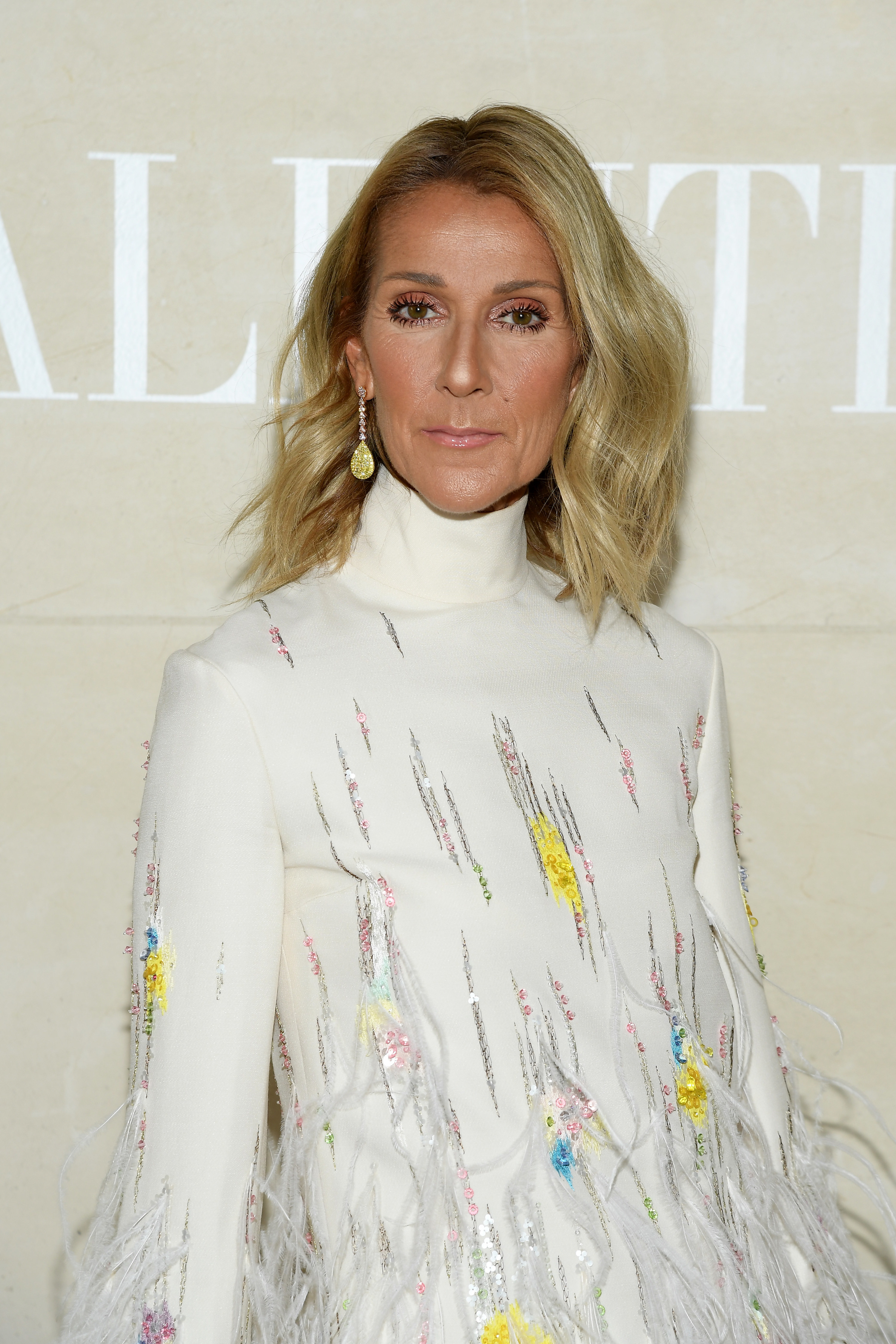 Celine in a feather suit