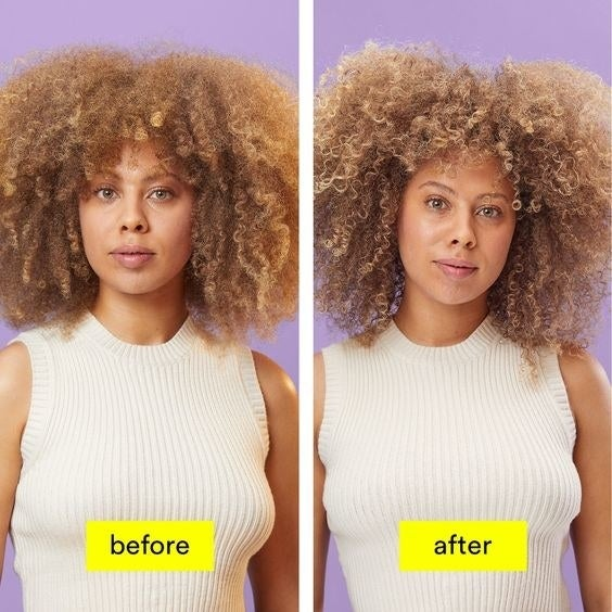 A before and after of a model with tight bleached curls that lose their yellow tone after use