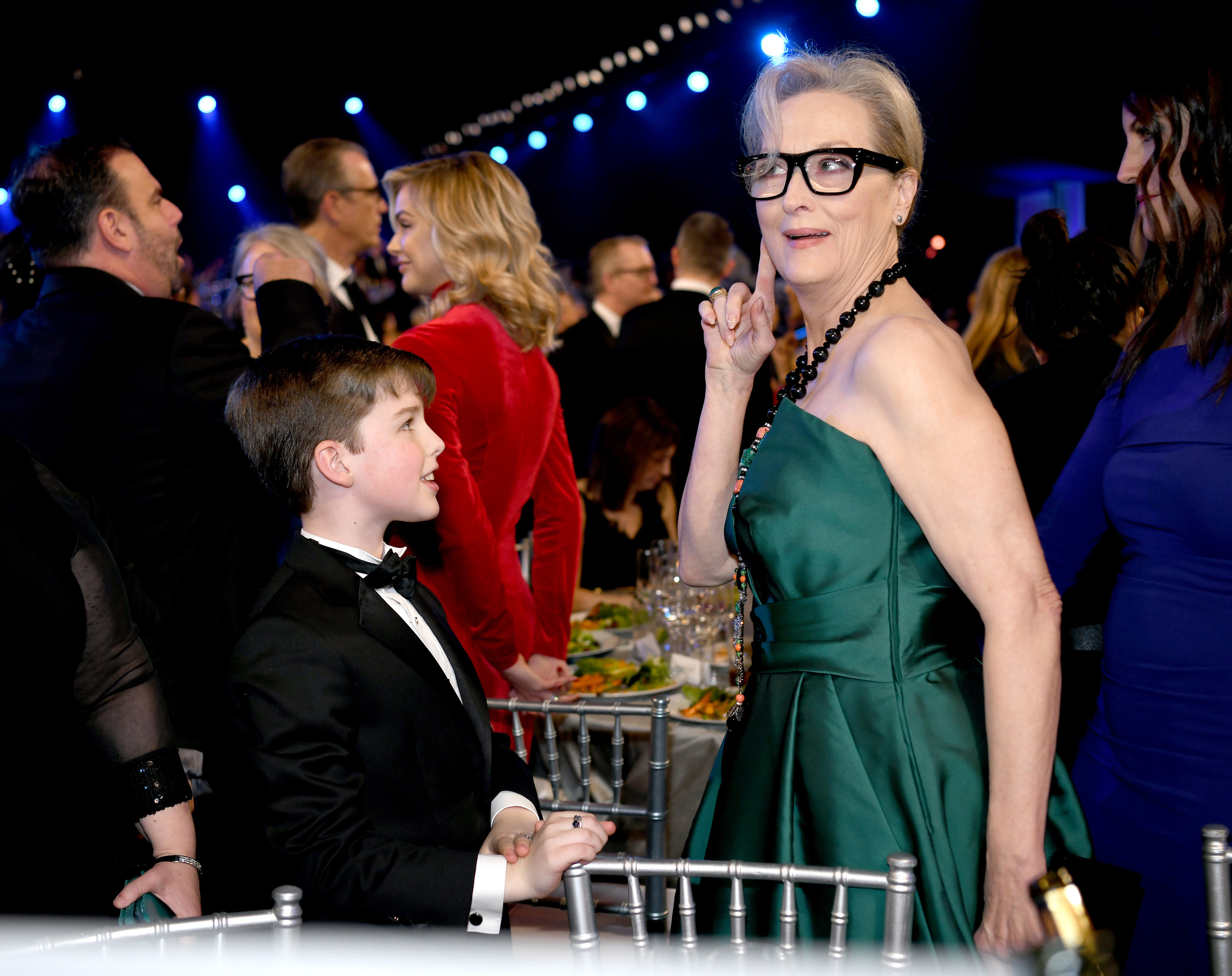 Meryl in a green dress at the golden globes