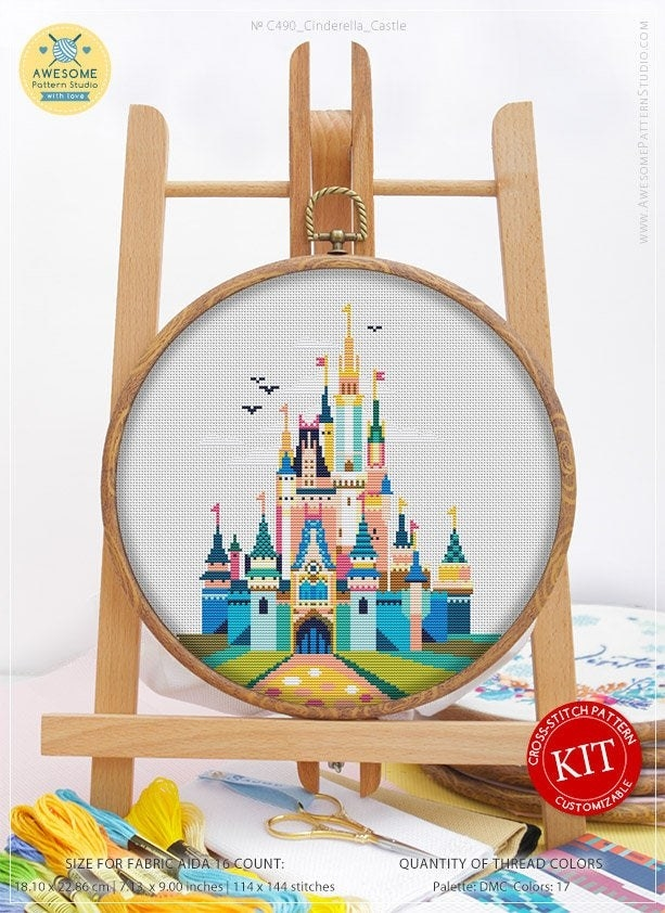 a colorful cross stitch of cinderella castle