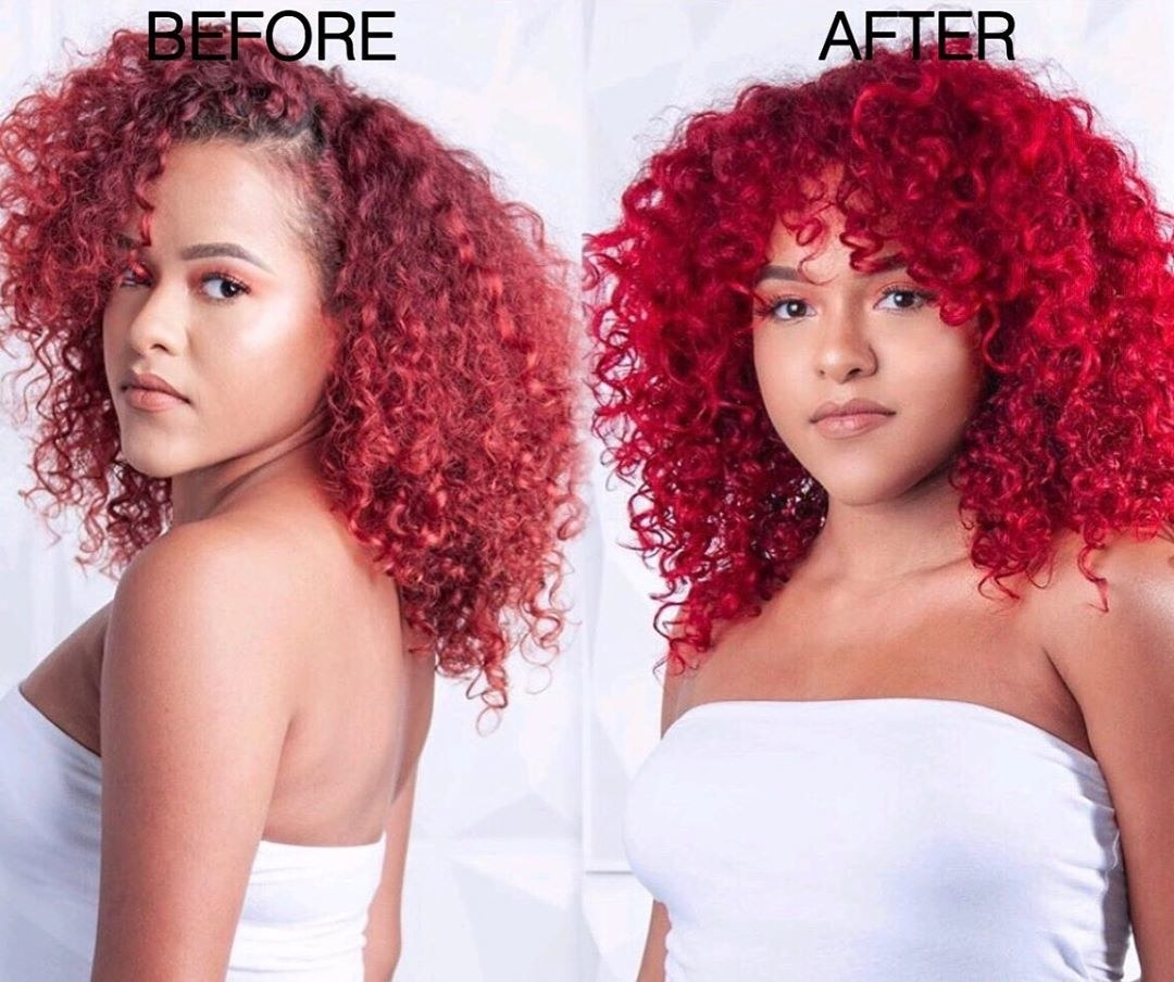 before: model with light red hair after: model with brighter red hair