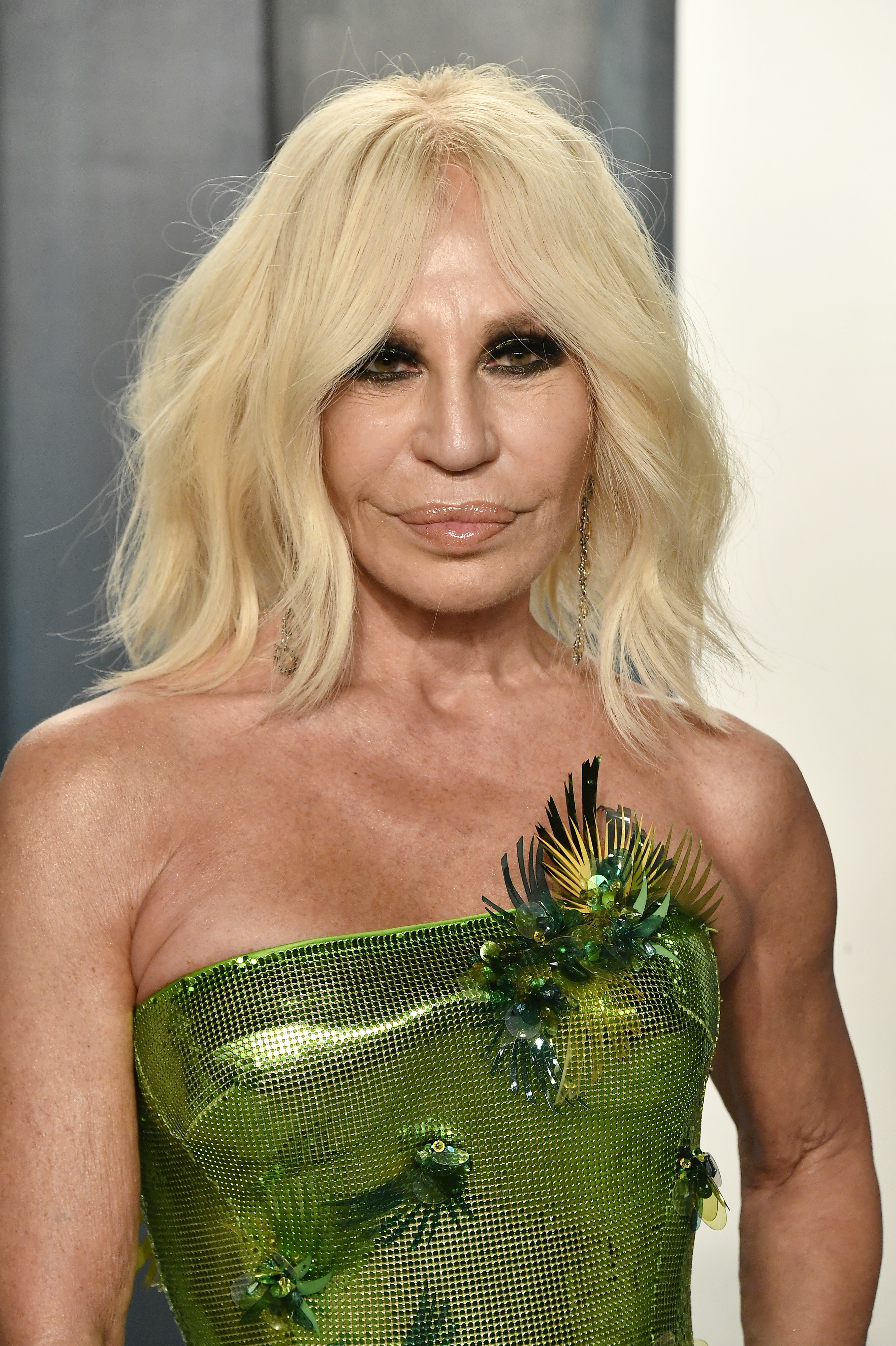 donatella wearing a green gown