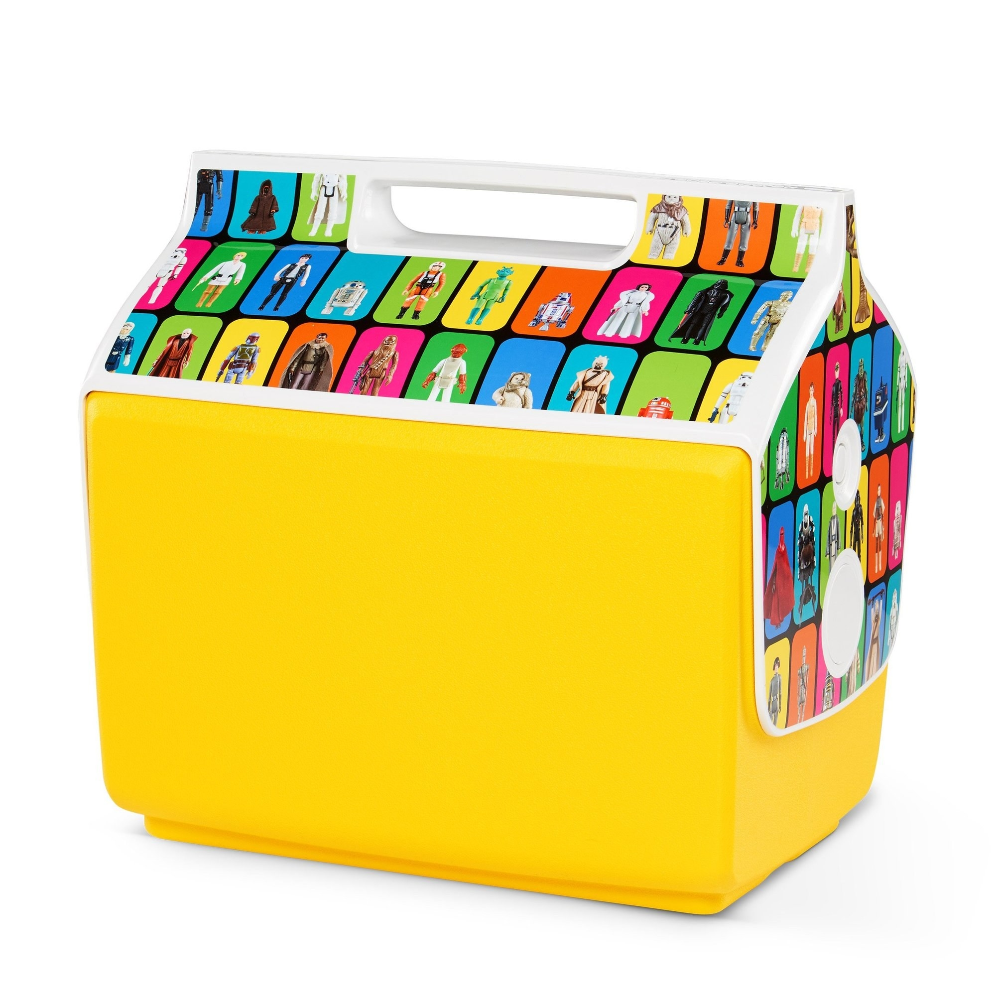 a yellow cooler with retro illustrations of star wars characters on the side