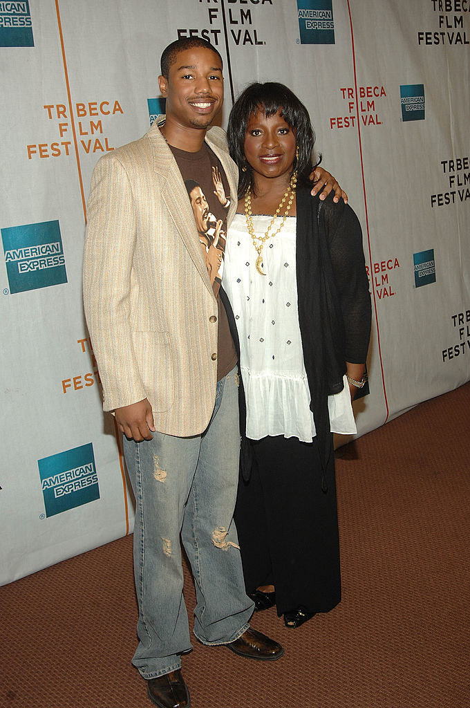 with his mom on the red carpet