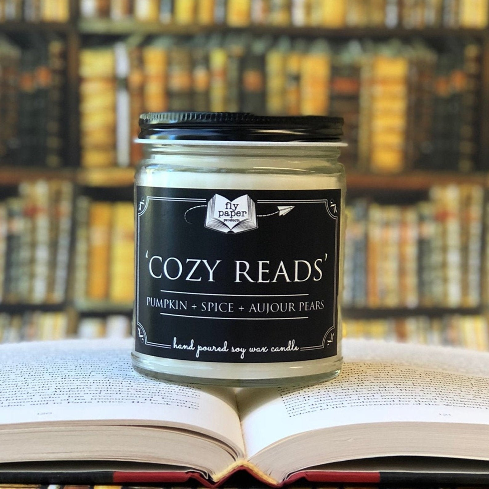 "the ""cozy reads"" candle scented with pumpkin, spice, and aujour pears"
